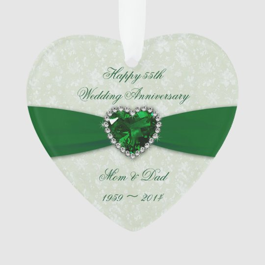Damask 55th Wedding Anniversary Acrylic Ornament
