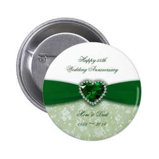 Damask 55th Wedding Anniversary Pin