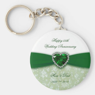 Damask 55th Wedding Anniversary Basic Round Button Key Ring