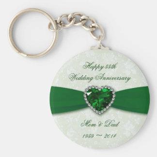 Damask 55th Wedding Anniversary Basic Round Button Key Ring