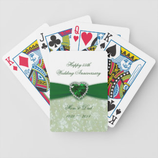 Damask 55th Wedding Anniversary Bicycle Playing Cards