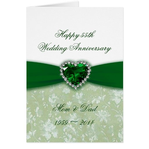 Damask 55th Wedding Anniversary Cards