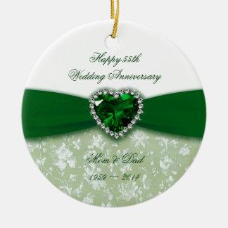 Damask 55th Wedding Anniversary Christmas Ornament