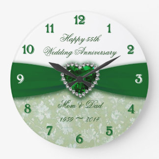 Damask 55th Wedding Anniversary Clocks