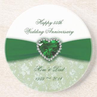 Damask 55th Wedding Anniversary Coaster