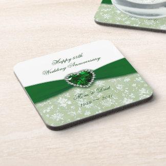 Damask 55th Wedding Anniversary Beverage Coaster