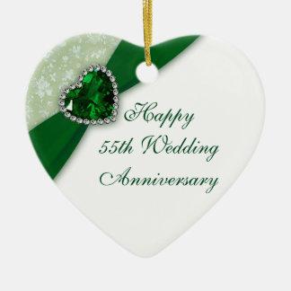 Damask 55th Wedding Anniversary Heart Ornament