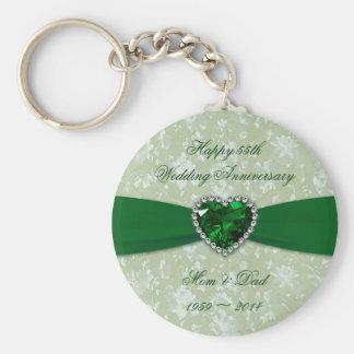 Damask 55th Wedding Anniversary Key Ring
