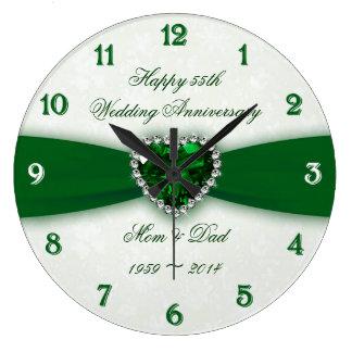 Damask 55th Wedding Anniversary Large Clock