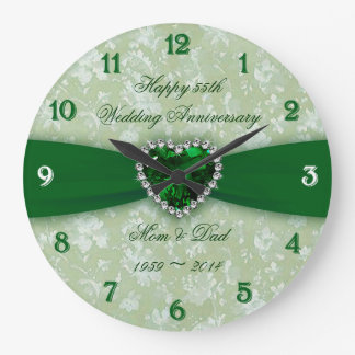 Damask 55th Wedding Anniversary Large Clock