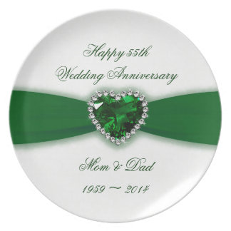 Damask 55th Wedding Anniversary Melamine Plate