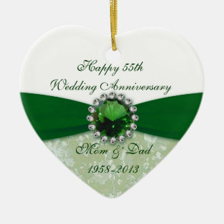 Damask 55th Wedding Anniversary Ornament