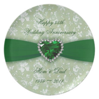 Damask 55th Wedding Anniversary Plate