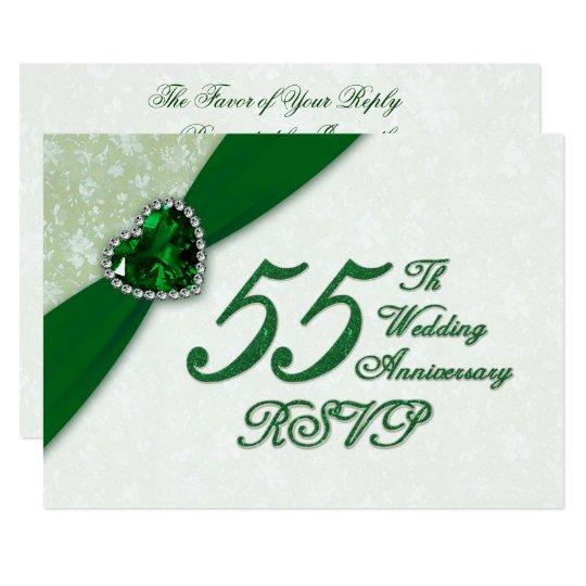 Damask 55th Wedding Anniversary RSVP Card
