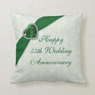 Damask 55th Wedding Anniversary Throw Pillow