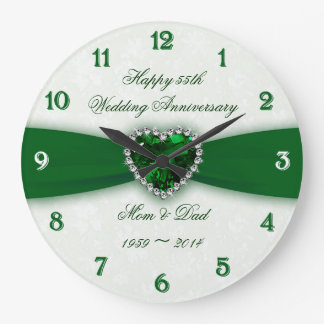 Damask 55th Wedding Anniversary Wallclock