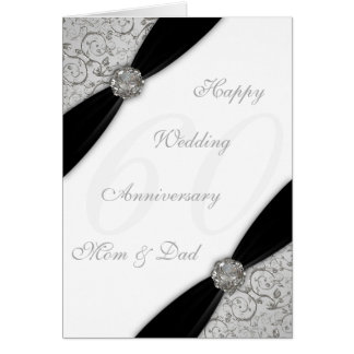 Damask 60th Wedding Anniversary Greeting Card