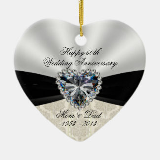 Damask 60th Wedding Anniversary Heart Ornament