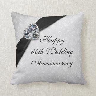 Damask 60th Wedding Anniversary Throw Pillow