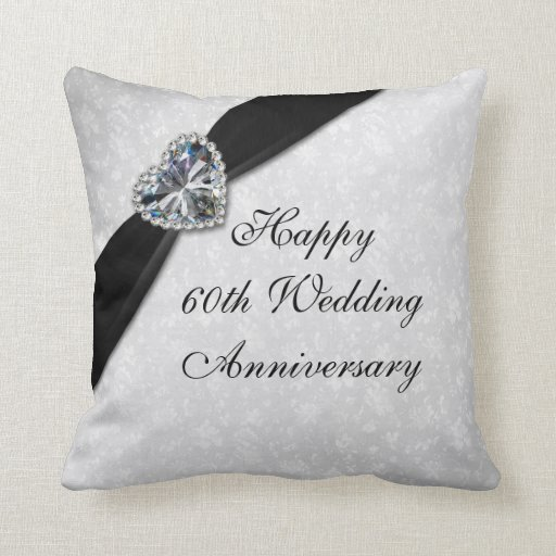 Damask 60th Wedding Anniversary Throw Pillow