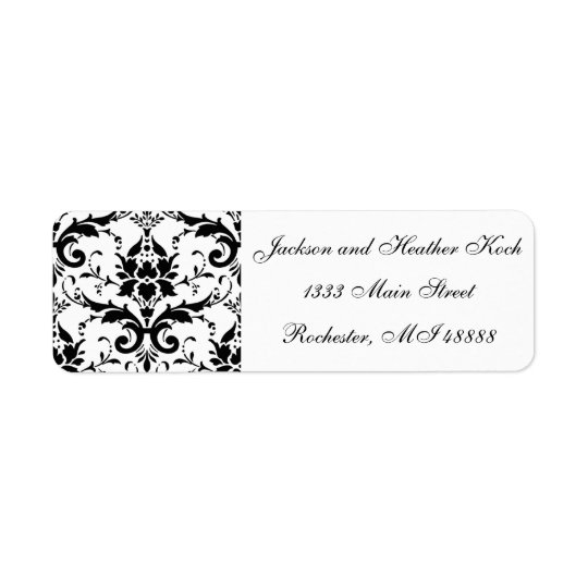 Damask Address Labels Black White Wedding Formal