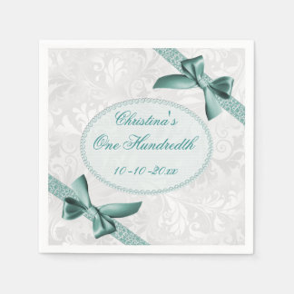 Damask and Bows One Hundredth Birthday Serviettes Paper Napkin