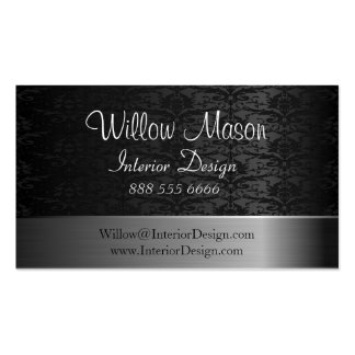 Damask  and Brushed Steel Business Card