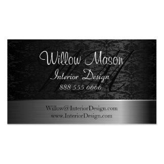 Damask  and Brushed Steel Monogram Business Card
