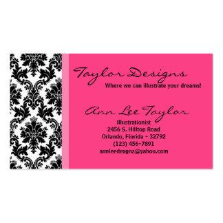 Damask and Hot Pink Elegant Trendy Business Card