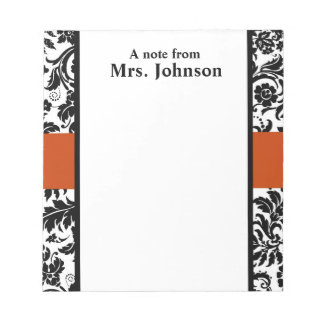 Damask and orange note pad
