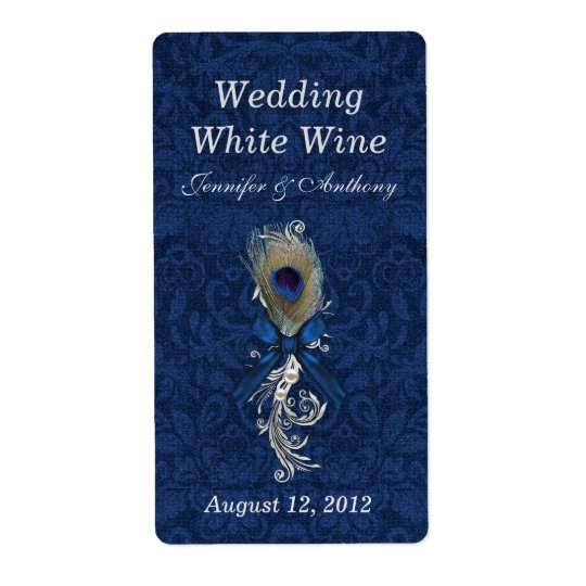 Damask and Peacock Feather Wedding Mini Wine Shipping