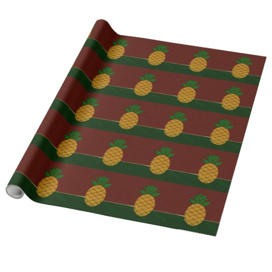 Damask and Pineapple Christmas Wrapping Paper