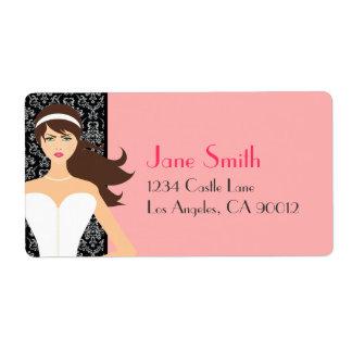 Damask and Pink Bridal Shower [Brunette Bride] Shipping Label
