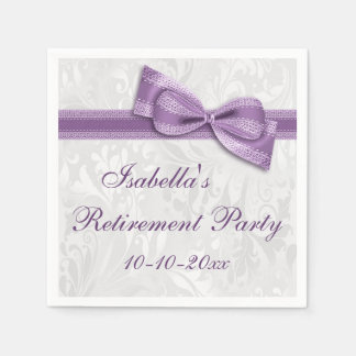 Damask and Purple Faux Bow Retirement Paper Napkin