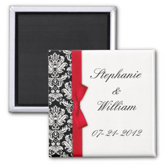 Damask and Red Bow Fridge Magnet