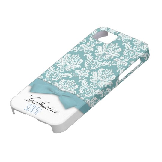 Damask Aqua Bow iPhone 5 Case