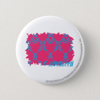 Damask Aqua-Magenta 3 6 Cm Round Badge