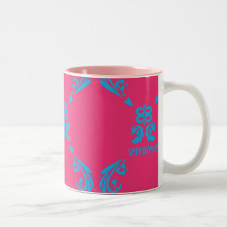 Damask Aqua-Magenta Two-Tone Coffee Mug