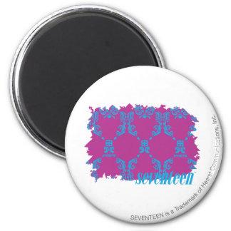 Damask Aqua-Purple 2 6 Cm Round Magnet