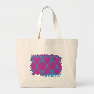 Damask Aqua-Purple 2 Large Tote Bag