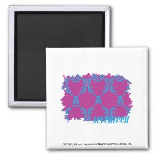 Damask Aqua-Purple 2 Fridge Magnets