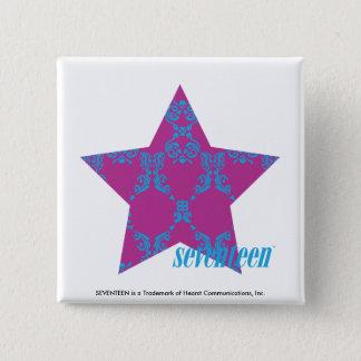 Damask Aqua-Purple 3 15 Cm Square Badge