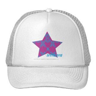 Damask Aqua-Purple 3 Mesh Hats
