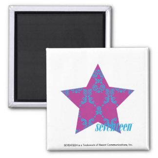Damask Aqua-Purple 3 Square Magnet