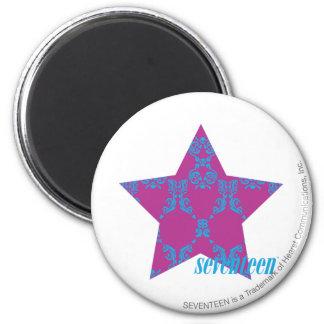 Damask Aqua-Purple 3 6 Cm Round Magnet