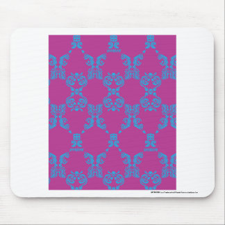 Damask Aqua-Purple Mouse Pad
