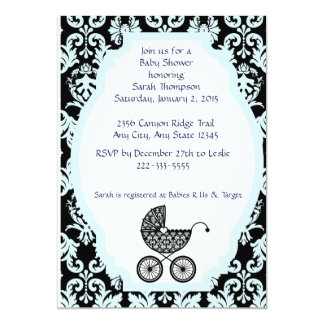 Damask Baby Carriage Invitation - blue