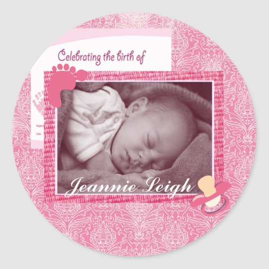 Damask Baby Girl Birth Photo Keepsake Classic Round