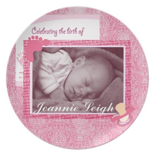 Damask Baby Girl Birth Photo Keepsake Plate
