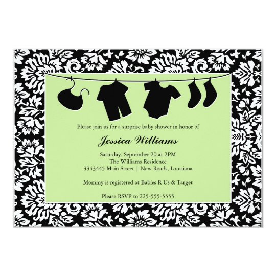Damask Baby Shower Card